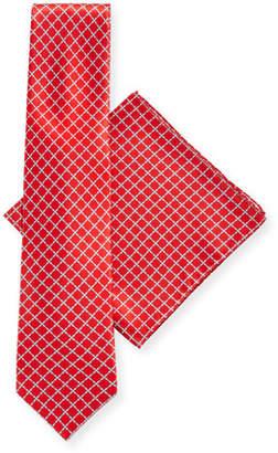 Stefano Ricci Arrow-Print Silk Tie & Pocket Square Set