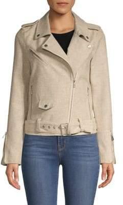 Pure Navy Long-Sleeve Linen & Cotton Blend Jacket