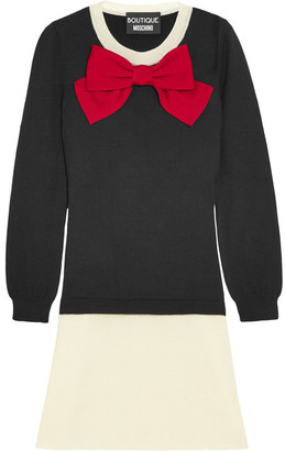 Boutique Moschino - Bow-embellished Wool Mini Dress - Black $650 thestylecure.com