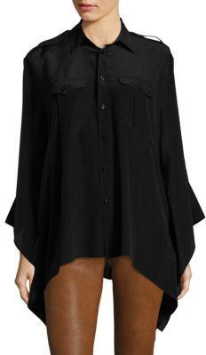Polo Ralph Lauren Silk Crepe Poncho Shirt $245 thestylecure.com