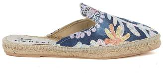 Manebi Mules Paris Embroidered Denim And Jute.