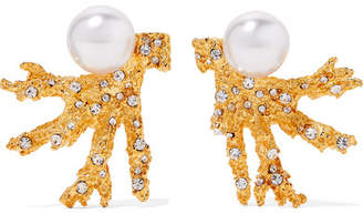 Kenneth Jay Lane Gold-tone, Faux Pearl And Crystal Clip Earrings