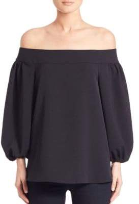 Tibi Draped Twill Off-The-Shoulder Top