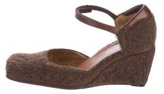 Sergio Rossi Wool Square-Toe Wedges