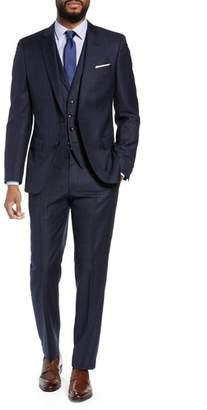 BOSS Huge/Genius Trim Fit Windowpane Wool Three-Piece Suit