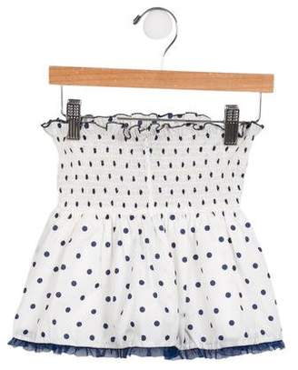 Roccobarocco Girls' Polka Dot Ruffle-Trimmed Skirt
