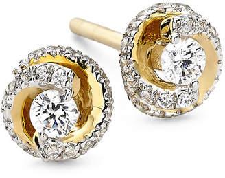 JCPenney FINE JEWELRY 1/4 CT. T.W. Diamond 10K Yellow Gold Swirl Stud Earrings