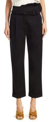 Carven Ruffle Cropped Cotton Pants