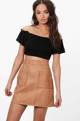 boohoo Inara Embroidered Stitch Pocket Front A Line Skirt