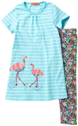Funkyberry Flamingo Dress Set (Toddler & Little Girls)
