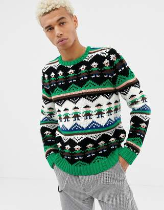 8cbd2a60f07b05 Asos Design DESIGN hand knitted heavyweight sweater with novelty design