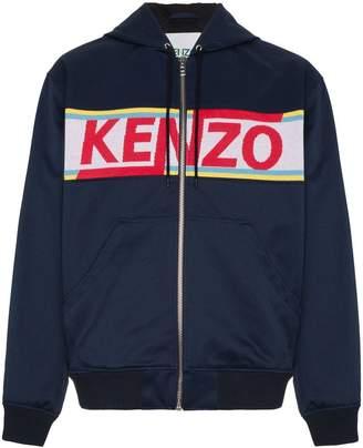 Kenzo logo panelled cotton zip-up hoodie