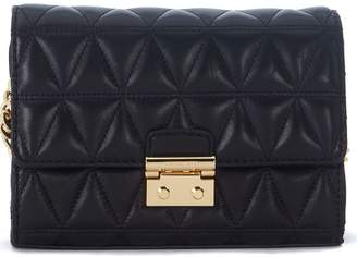 Michael Kors Ruby Black Quilted Leather Clutch With Shoulder Strap