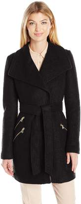 GUESS Women's Wool Boucle Coat with Oversized Color and Belt