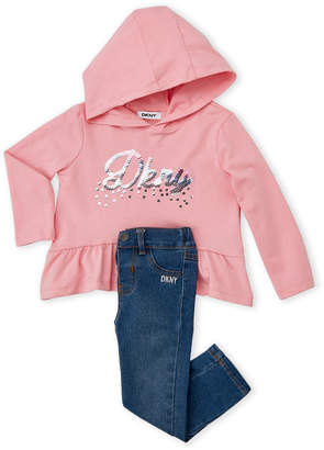 DKNY Infant Girls) Two-Piece Sequin Logo Hooded Top & Skinny Jeans Set