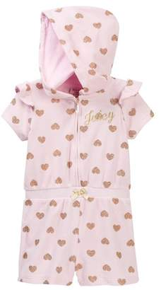 Juicy Couture Pink Glitter Heart Print Hooded Terry Romper (Little Girls)
