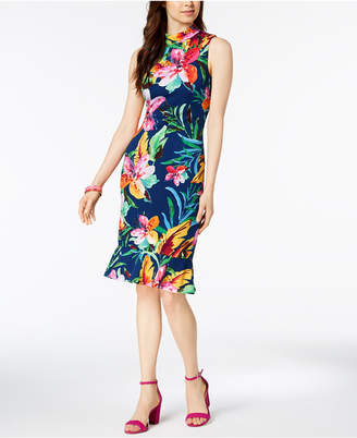 Jax Tropical Mock-Neck Ruffle Dress