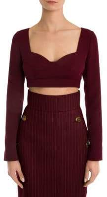 Sara Battaglia Long-Sleeve Cropped Sweetheart Top