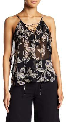 Soprano Lace-Up Floral Tank Top