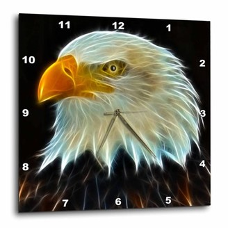 3dRose Fractal Color Outlined Bald Eagle, Wall Clock, 15 by 15-inch