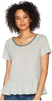 Lucky Brand Stripe Peplum Top Women's T Shirt