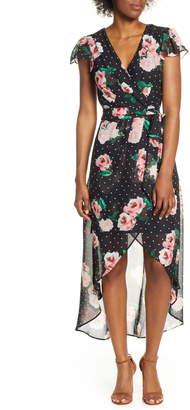 Julia Jordan High/Low Chiffon Faux Wrap Dress