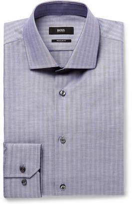 HUGO BOSS Blue Slim-Fit Herringbone Cotton Oxford Shirt - Men - Blue