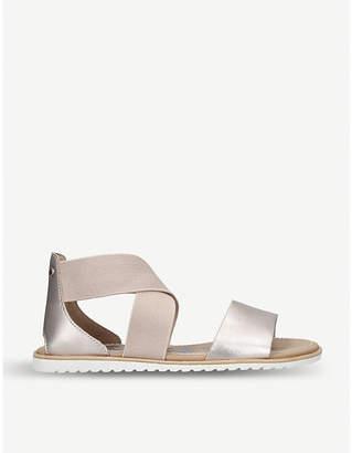 Sorel Ella metallic leather and textile sandals