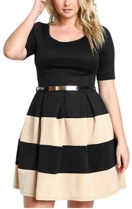 G-Fengshang Women's Round Collar Stripes Detail Belted Plus Size Skater Dress
