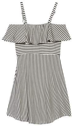 Ten Sixty Sherman Stripe Cold Shoulder Dress
