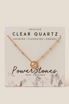 francesca's Power Stone Clear Quartz Pendant Necklace - Clear