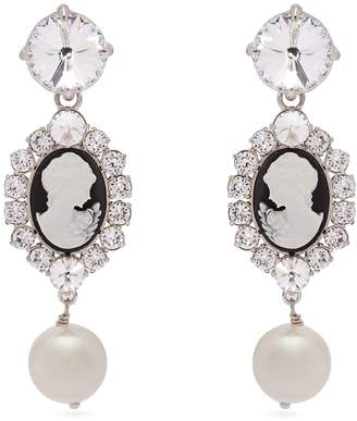 Miu Miu Cameo, faux-pearl and crystal clip-on earrings