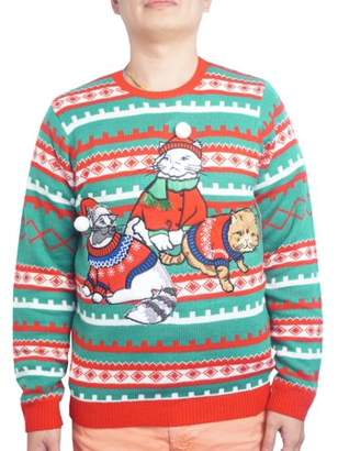 Holiday Men's Fancy Sweater Cat Ugly Christmas Sweater, Up to size 2XL