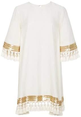 Mestiza New York Shimmy Shimmy White Tassel Cocktail Dress