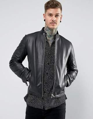 Asos DESIGN leather racing biker jacket in black