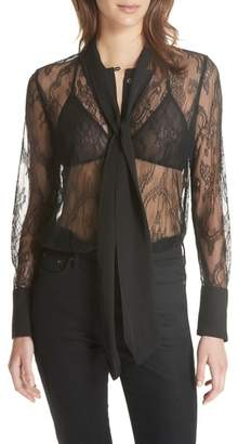 Equipment Luis Tie Neck Sheer Floral Lace Blouse