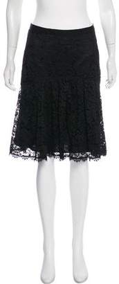 Rebecca Taylor Lace-Knit Knee-Length Skirt