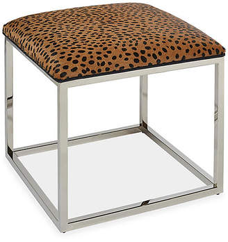 Massoud Furniture Edie Ottoman - Leopard Hair-On-Hide Leather