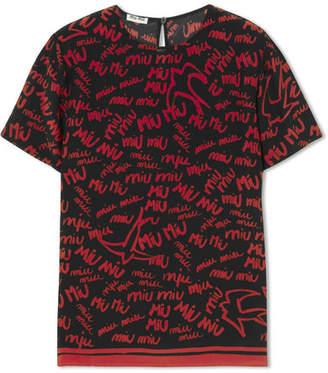 Miu Miu Printed Silk Crepe De Chine T-shirt - Red
