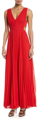 Fame & Partners Side-Cutout Accordion-Pleated Gown