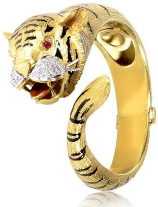 18K Yellow & White Gold Diamond & Ruby Tiger Bangle Bracelet