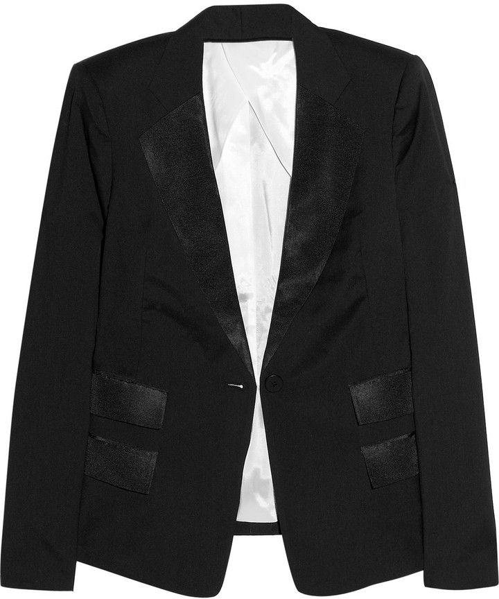 Karl Lagerfeld James satin twill-trimmed crepe blazer