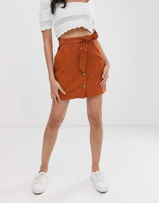 Miss Selfridge a-line mini skirt with button through in rust