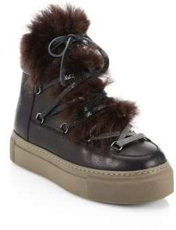 Brunello Cucinelli Apres Ski Fur Lace-Up Booties