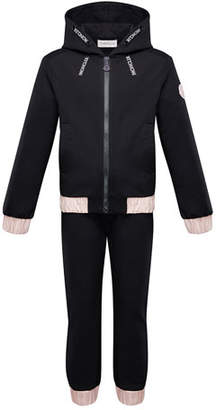 Moncler Contrast-Trim Hoodie w/ Matching Sweatpants, Size 4-6