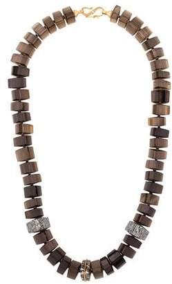 Monique Péan 18K Smoky Quartz & Fossilized Dinosaur Bone Bead Strand Necklace