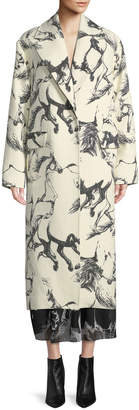 ADAM by Adam Lippes Notched-Lapel Button-Front Abstract Horse-Print Cocoon Wool Coat