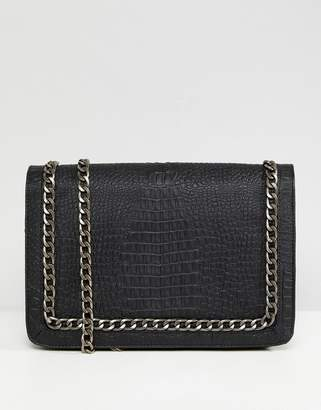 Asos Design Oversized Croc Cross Body Bag With Chain Handle
