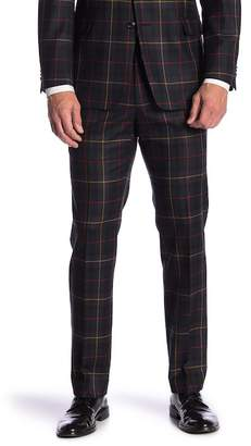 """Tommy Hilfiger Tyler Navy Plaid Wool Modern Fit Stretch Suit Separates Pants - 30-34\"""" Inseam"""