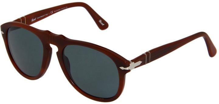 Persol PO0649P - Polarized (Brown/Crystal Blue Photo Polarized Lens) - Eyewear